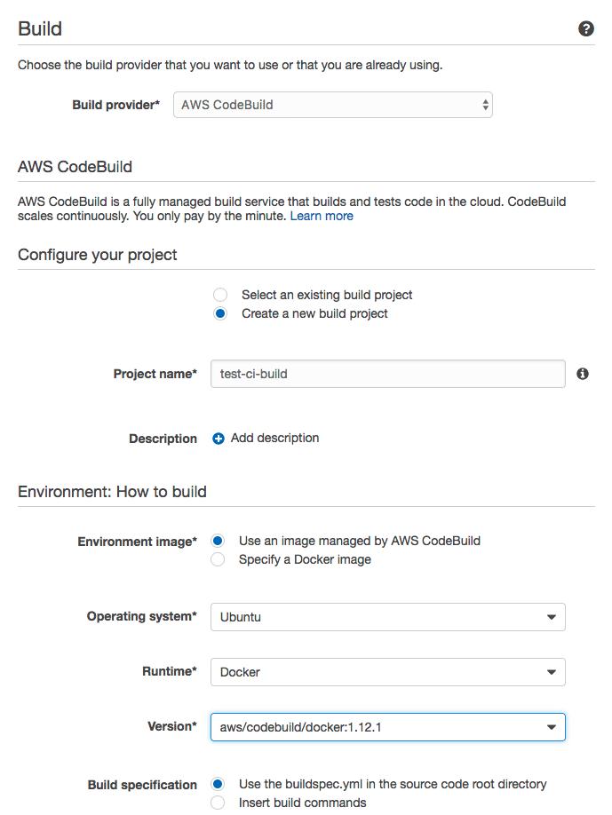 AWS CodeBuild konfiguration