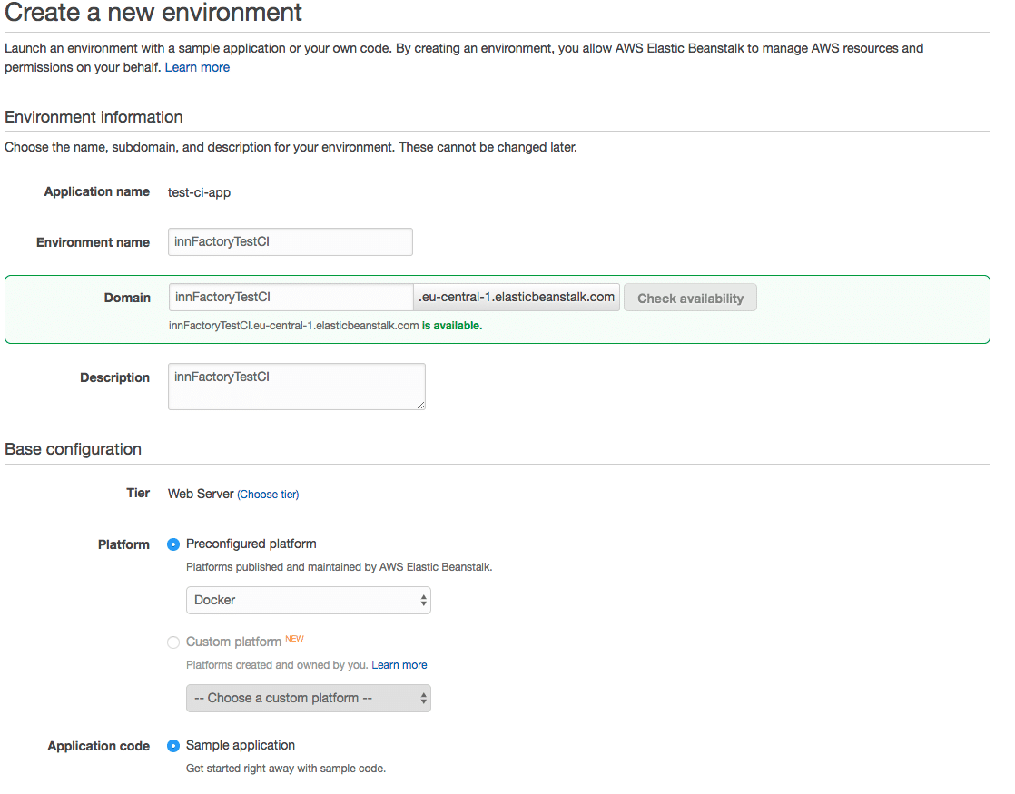 AWS Beanstalk Environment Einstellungen