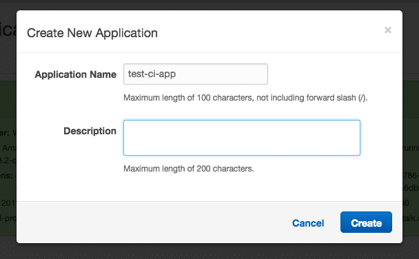 Create new Elastic Beanstalk application