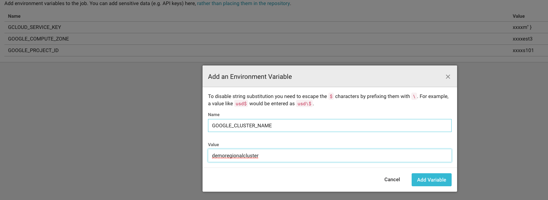 Umgebungsvariablen für das Google Cloud SDK in Circle CI