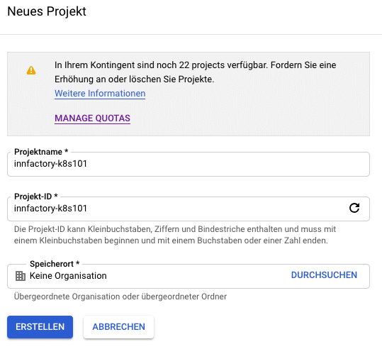 neues goolge cloud project
