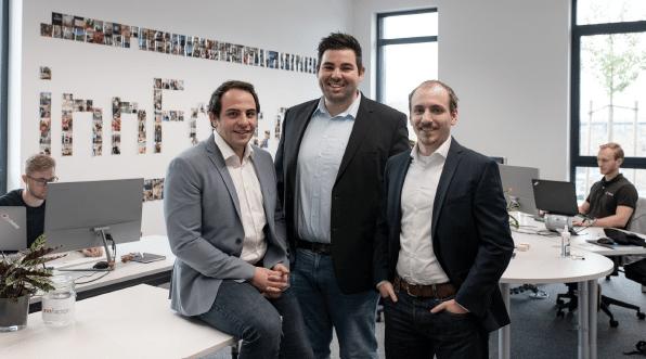 innFactory Gründer im Büro im Stellwerk18, Anton Spöck, Tobias Jonas, Maximilian Grassl